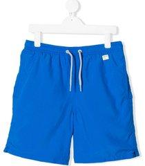 mc2 saint barth teen logo patch drawstring swim shorts - blue