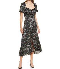 women's prim berry sweetheart neck midi dress, size small - black
