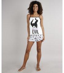 """pijama feminino malévola """"mondays are evil"""" alças finas off white"""