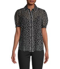 diane von furstenberg women's floral puff-sleeve shirt - dot flower - size xs