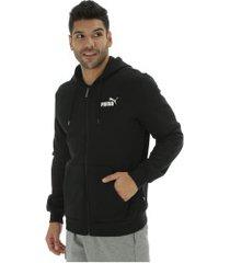 jaqueta de moletom com capuz puma ess fz hoody fl - masculina - preto