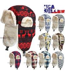 aviator trapper hat bomber winter russian trooper earflap warm ski women's mens