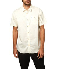 men's o'neill tame slim fit stretch short sleeve button-up shirt, size large - ivory