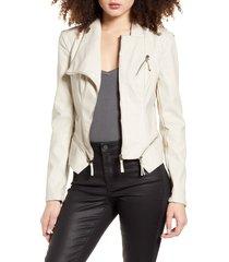 women's blanknyc faux leather jacket, size x-large - beige