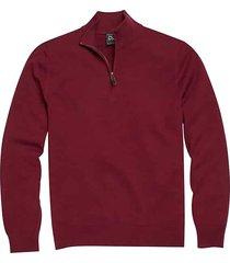jos. a. bank traveler men's burgundy red modern fit 1/4 zip pima cotton sweater - size: medium