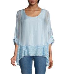 le marais women's silk-blend tunic - sky - size l