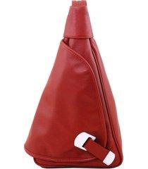 tuscany leather tl140966 hanoi - zaino in pelle morbida rosso
