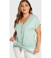 plus talla blusa con cuello de pico y botones de rayas verde menta