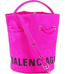 balenciaga logo print bucket bag
