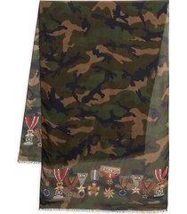 valentino garavani men's camo & medal-print scarf - camo army
