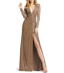 women's ieena for mac duggal twist front long sleeve metallic gown