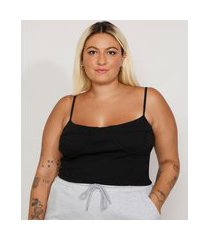 regata feminina plus size mindset corset cropped canelada alça fina decote redondo preta