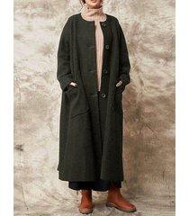cappotto plus size lungo in lana vintage tinta unita