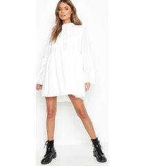 gehaakte gesmokte boho jurk met wijde mouwen, wit