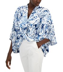 alfani petite printed oversized blouse, created for macy's