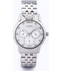 reloj dama marca loix -  ref l 1148-03 - plateado