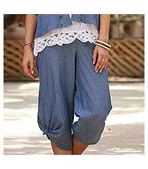 cotton capri pants, 'casual blue comfort' (india)