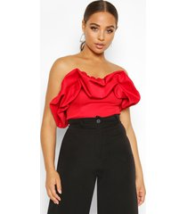 extreme ruffle sleeveless top, red