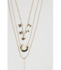 colar feminino triplo com pingente tartaruga dourado
