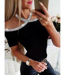 camiseta de manga corta adornada con lentejuelas negras