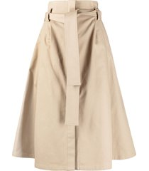 p.a.r.o.s.h. belted a-line skirt - brown