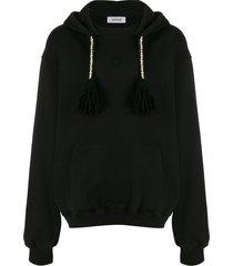 adish tassel detail hoodie - black