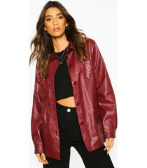 faux croc leather look belted trench coat, wine