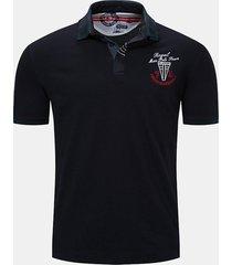 camicie da golf casual da uomo casual in stile hit collare con ricamo colore sottile