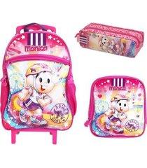 kit mochila com rodinhas mônica patins arco-íris com lancheira e estojo feminina