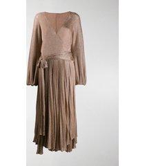 maria lucia hohan millie metallic-knit wrap dress