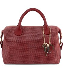 tuscany leather tl141885 tl keyluck - maxi bauletto in pelle stampa intrecciata rosso
