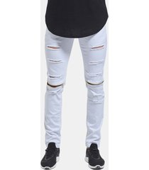 skinny hip hop ripped holes knee zipper jeans per uomo