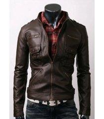 handmade men slim brown leather jacket with six front pocket, men leather jacket