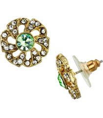 downton abbey gold-tone spring green and crystal stud earrings