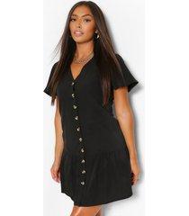 loshangende jurk met knopen en franjezoom, zwart