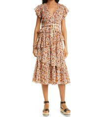 women's ulla johnson madeline floral tiered ruffle cotton dress, size 10 - pink