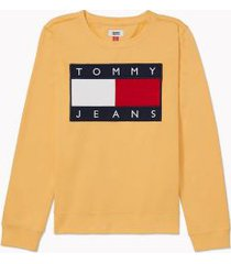 tommy hilfiger women's classic flag sweatshirt buff orange - xs