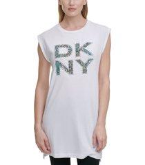 dkny stacked printed logo tunic