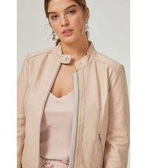 amaro feminino jaqueta couro pelica essential, nude