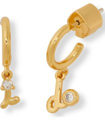kate spade new york gold-tone pave i do charm huggie hoop mismatch earrings