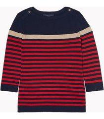 tommy hilfiger women's essential metallic stripe sweater sky captain / scarlet stripe - s