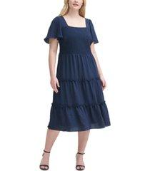 jessica howard plus size smocked tiered dress