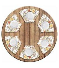 jogo americano love decor  para mesa redonda wevans flowers kit com 6 pçs