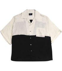 silk chiffon colorblock shirt