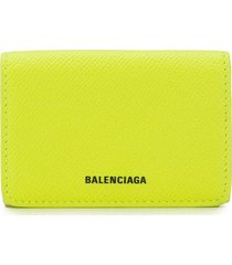 balenciaga ville mini wallet - yellow