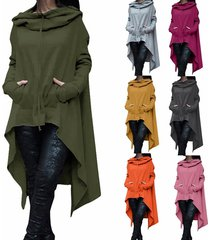 women fashion draw cord coat long sleeve loose casual poncho coat hoodies gray