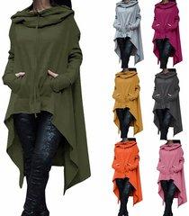 women fashion draw cord coat long sleeve loose casual poncho coat hoodies gray