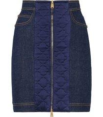 fendi padded-detail denim skirt - blue