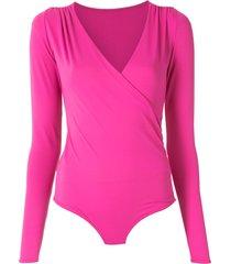 amir slama draped long sleeves bodysuit - pink