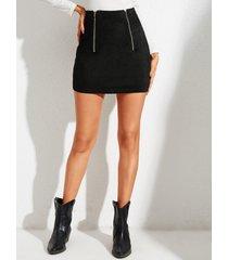 yoins black cremallera diseño minifalda de ante de talle alto